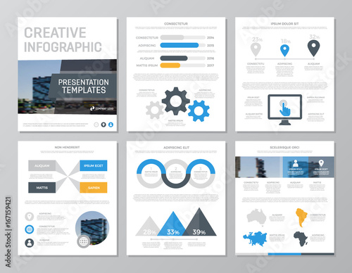 Set of blue and yellow elements for multipurpose a4 presentation