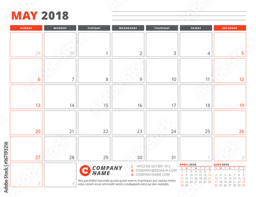 Calendar Planner Template for May 2018 Business Planner Template