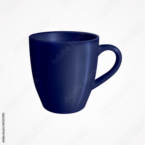 Blue mug Vector illustration Realistic design template of classic