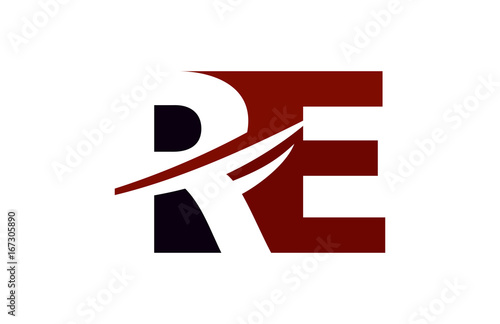 RE Red Negative Space Square Swoosh Letter Logo - Buy this stock