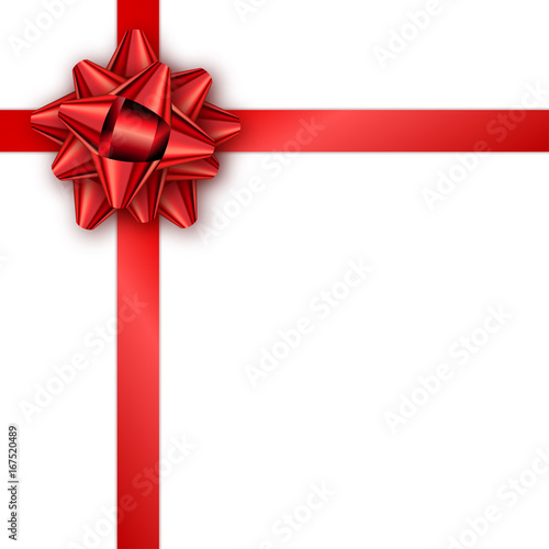 Holiday gift card with red ribbon and bow Template for a business