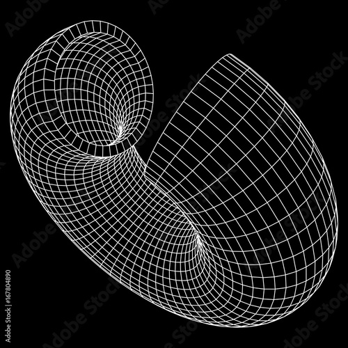 Abstract wireframe slice torus donut Vector technology background - donut template