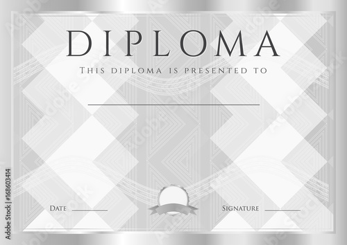 Diploma, Certificate of completion (design template) with frame and