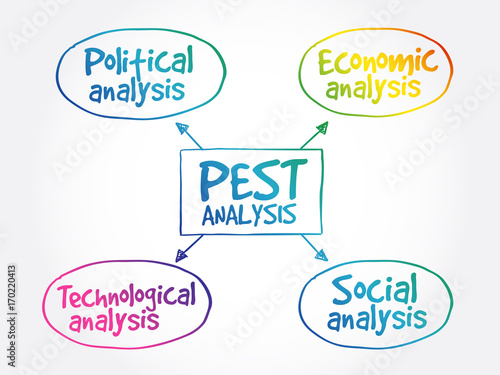 PEST analysis mind map, political, economic, social, technological