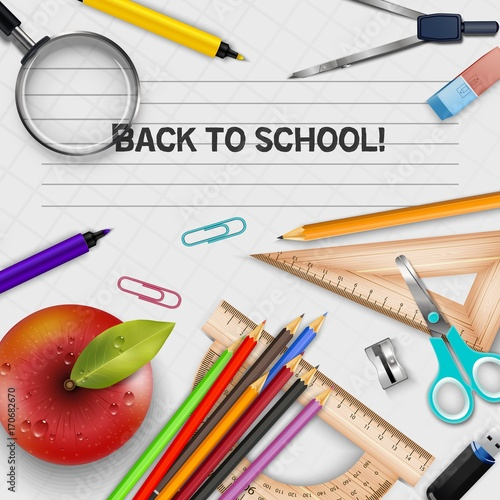 Welcome Back to school template with schools supplies - Buy this
