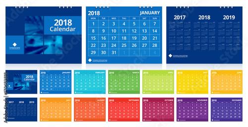 Calendar 2018 template set 12 months, front cover and back cover - calendar sample design