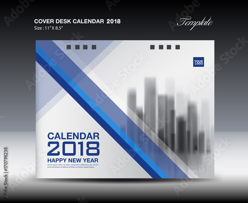 Blue Cover Desk Calendar 2018 Design, brochure flyer template - Buy