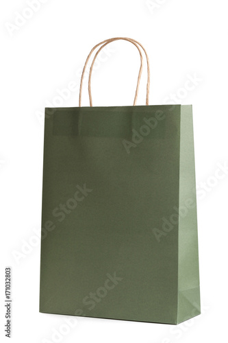 Paper shopping bag mockup template isolated on white background