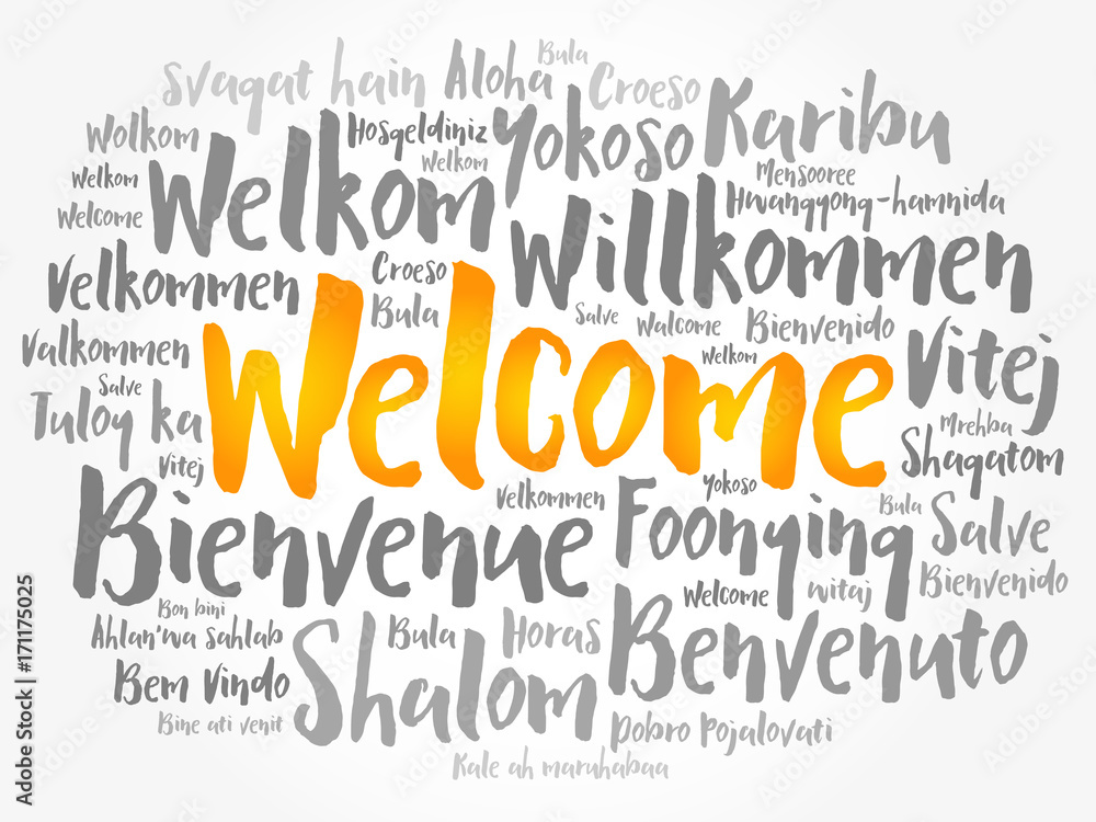 Photo  Art Print WELCOME word cloud in different languages