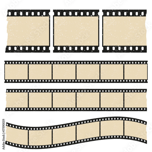 Vector retro worn torn film strips - waveform and straight strip