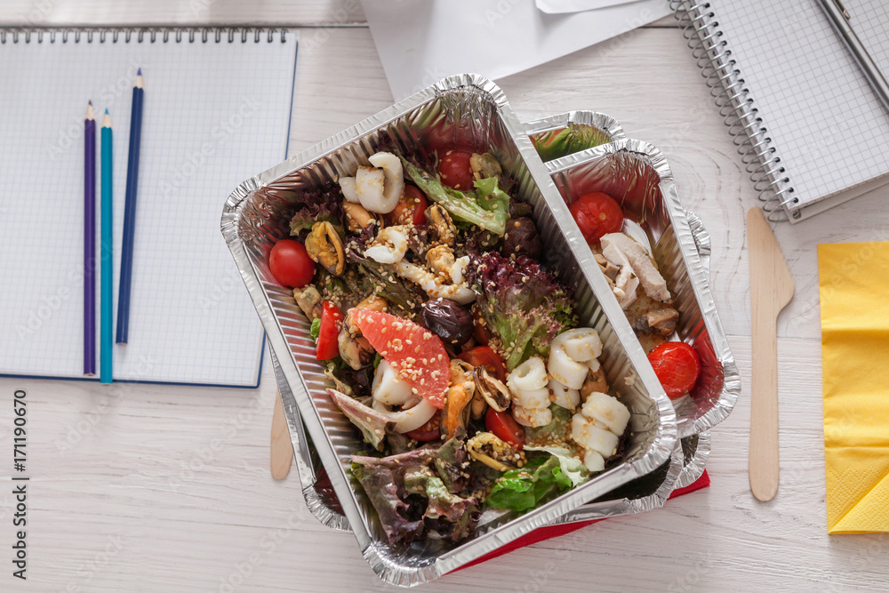 Photo  Art Print Healthy daily meals delivery in office, vegetable