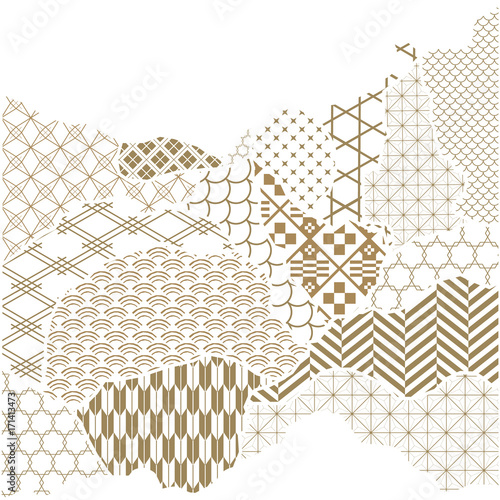 Japanese pattern vector Gold geometric background in paper collage - postcard collage template