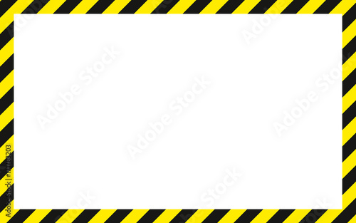 warning striped rectangular background, yellow and black stripes on - black border background