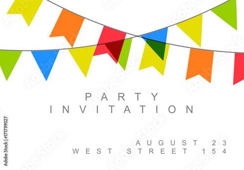 Birthday Party Invitation with Flag Banners Layout 1 Buy this stock