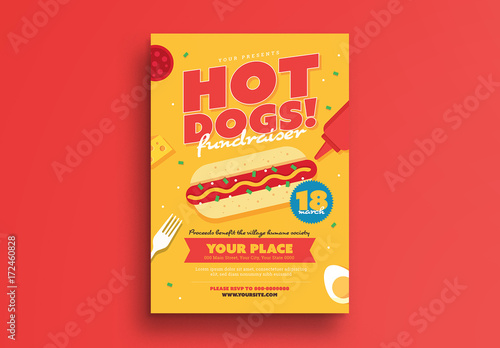 Hot Dog Fundraiser Event Flyer 1 Buy this stock template and
