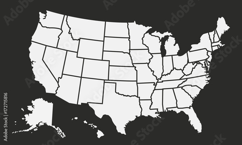 USA map isolated on a black background United States of America
