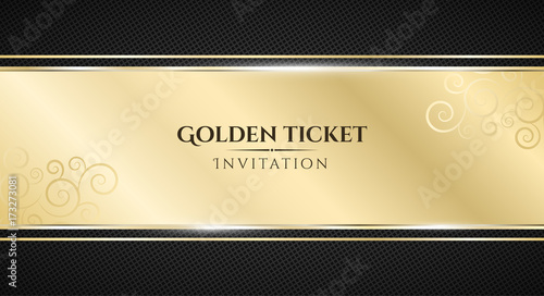 Golden ticket Luxurious invitation Golden ribbon banner on a black