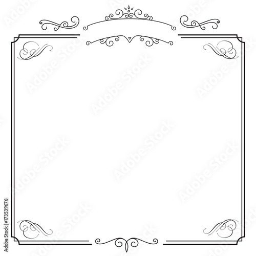 Ornamental retro elegant black border and white album background - black border background