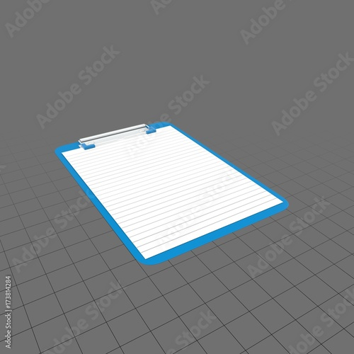 Blue clipboard with lined paper Buy this stock 3d asset and explore