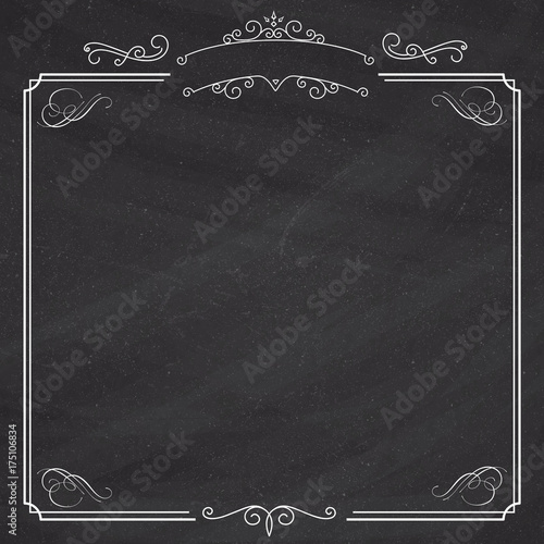 Ornamental retro elegant black border and white album background - black border background