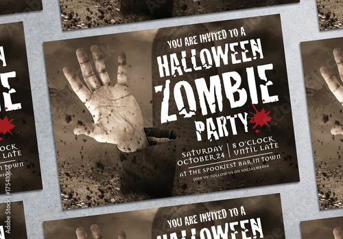 Halloween Zombie Party Flyer Layout 1 Buy this stock template and