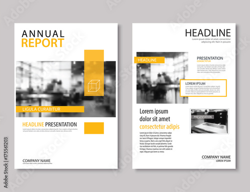 Yellow annual report brochure template A4 size design Can be use to
