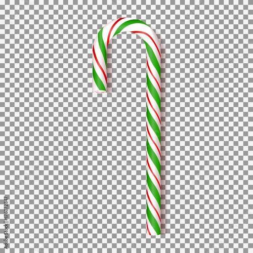 Realistic Xmas candy cane isolated on transparent backdrop Vector