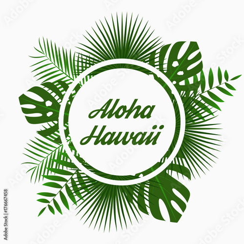 Safari Animal Wallpaper Aloha Hawaii Card Design With Tropical Palm Leaves