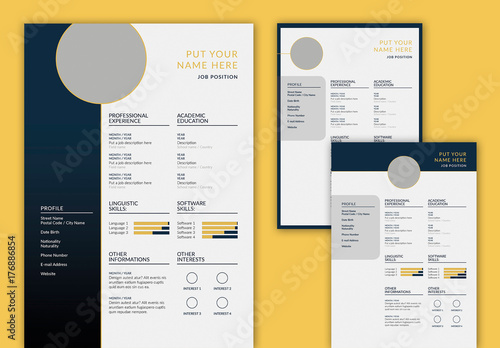 Resume Layout Set with Dark Blue and Gold Accents Buy this stock - resume with accents