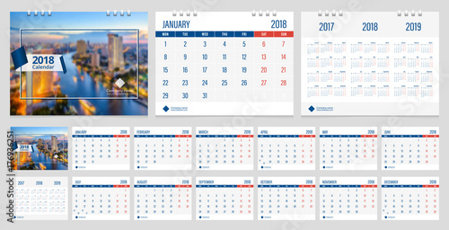 Calendar 2018 week start on Monday corporate business luxury design - calendar sample design