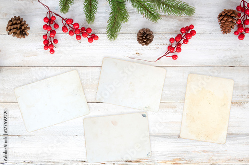 Christmas theme background with blank photo paper and decorating - christmas theme background