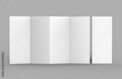 Accordion fold brochure, eight pages four panel leaflet, concertina - accordion fold brochure