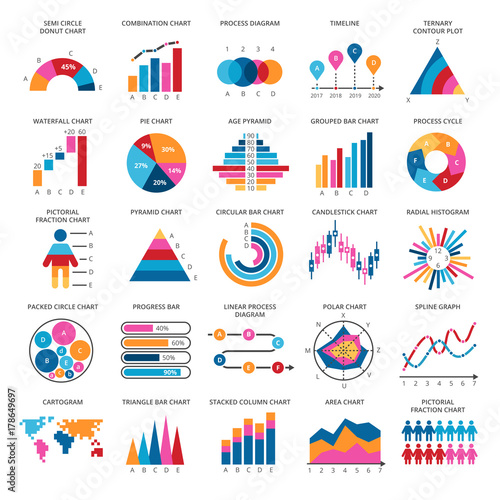 Business data graphs Vector financial and marketing charts - Buy