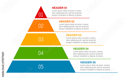 Triangle pyramid chart infographic flat vector diagram for
