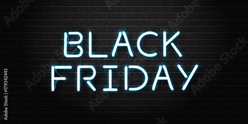 Vector realistic isolated neon sign of Black Friday lettering for - neon lettering