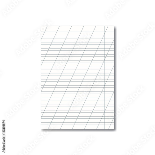 Vector opened realistic school cursive writing worksheet with red - blank writing sheet