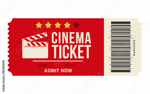 Cinema ticket isolated on white background Realistic cinema or