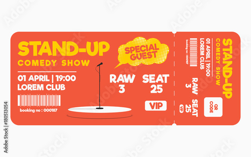 Stand up comedy show ticket isolated on white background Ticket