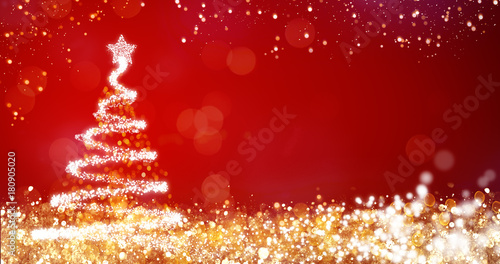 golden and silver lights with christmas tree on red background