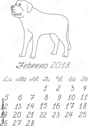 Creative vector free hand drawn doodle monthly spanish calendar