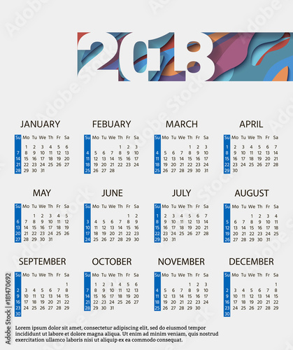 Monthly calendar 2018 with an abstract design Winter, spring