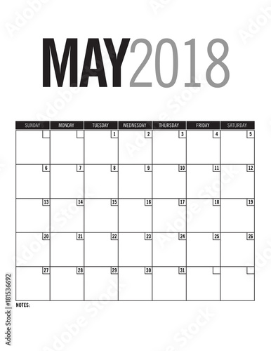 May 2018 - Blank calendar page with dates - Buy this stock