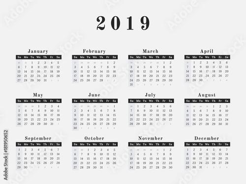 2019 Year Calendar horizontal design - Buy this stock vector and