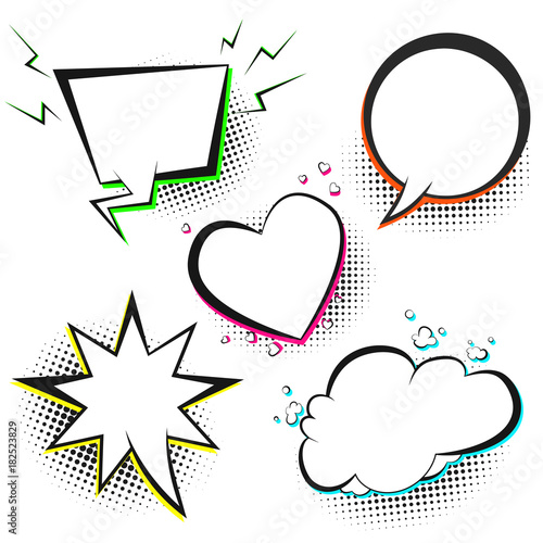 Set of white vector retro comic speech bubbles with color shadow on