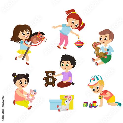 Vector illustration set of children play with toys Little girl - cartoon children play