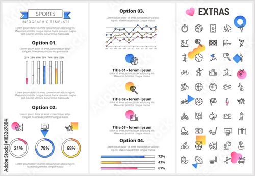 Sports infographic template, elements and icons Infograph includes