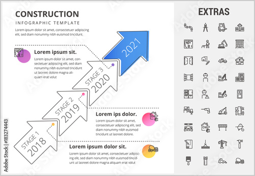 Construction timeline infographic template, elements and icons