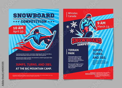 Snowboard competition posters, flyer - template vector design - Buy