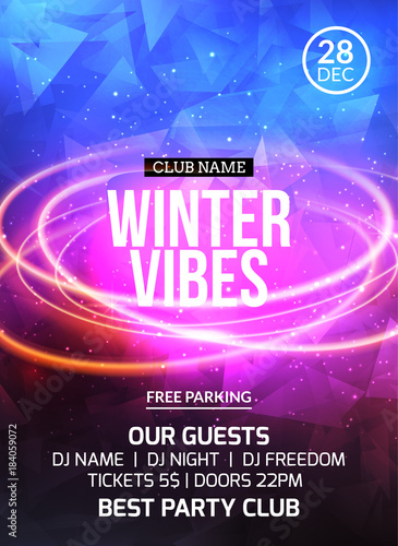 2018 new year winter dance party celebration flyer design template