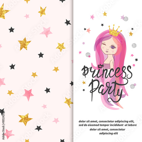 Princess party invitation template Vector Birthday card design for